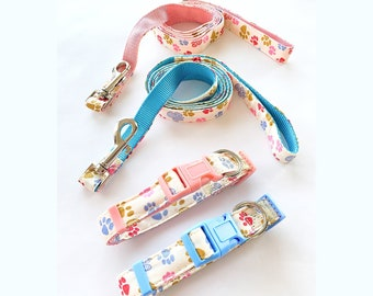 Cute Paw Prints Dog Collar and Matching Leash
