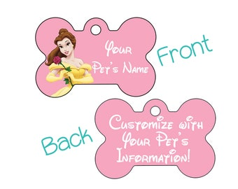 Disney Belle Double Sided Pet Id Dog Tag | Personalized for your Pet