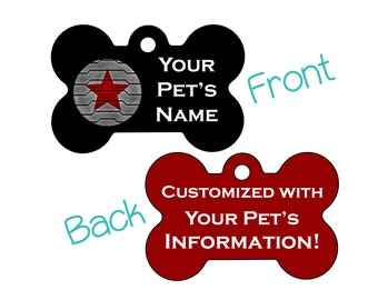 Winter Soldier Bucky Barnes Double Sided Pet Id Dog Tag | Personalized for your Pet