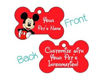 Disney Mickey Mouse Double Sided Pet Id Dog Tag | Personalized for your Pet