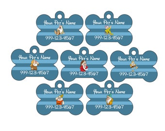 Disney Snow White and The Seven Dwarfs Pet Id Tags for Dogs and Cats Personalized w/ Name & Number