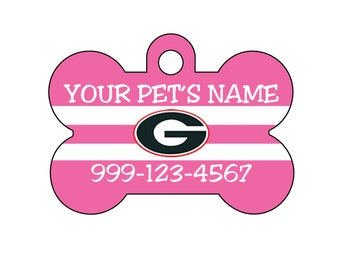 Georgia Bulldogs Pink Pet Id Dog Tag | Personalized w/ Your Pets Name and Number | Officially Licensed