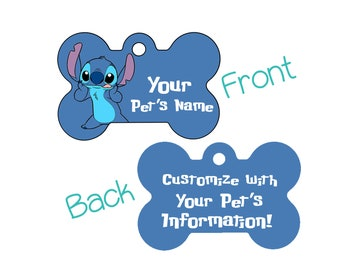 Disney Stitch Double Sided Pet Id Dog Tag | Personalized for your Pet