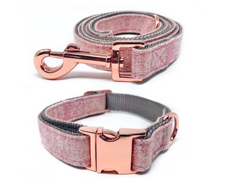 Rose Gold Collar and Leash   Pink Nylon Collars and Leashes w/ Rose Gold Buckles