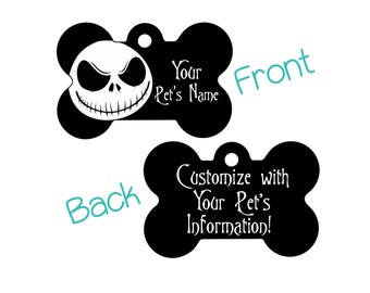 Jack Skellington Double Sided Pet Id Dog Tag | Personalized for your Pet