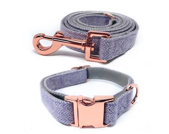 Rose Gold Collar and Leash   Lavender Nylon Collars and Leashes w/ Rose Gold Buckles