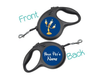 Disney Lumiere Retractable Dog Walking Leash Personalized for Your Pet