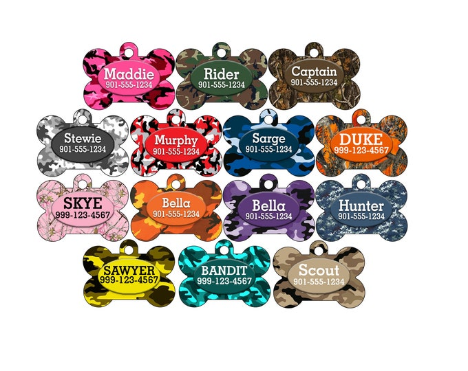 Featured listing image: Double Sided Camo Pet Id Dog Tag Personalized w/ up to 4 lines of text!
