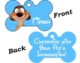 Disney Lion King Timon Double Sided Pet Id Dog Tag Personalized for your Pet