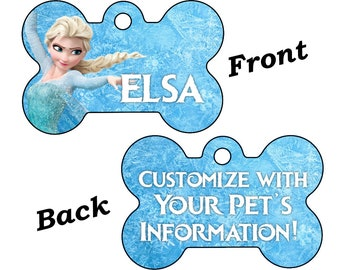 Disney Frozen Elsa Double Sided Pet Id Dog Tag Personalized for Your Pet