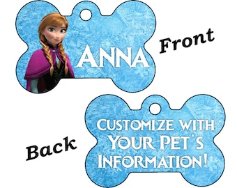 Disney Frozen Anna Double Sided Pet Id Dog Tag Personalized for Your Pet