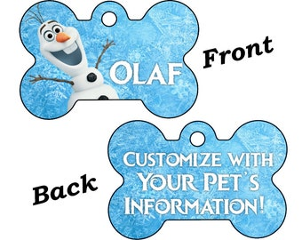 Disney Frozen Olaf Double Sided Pet Id Dog Tag Personalized for Your Pet