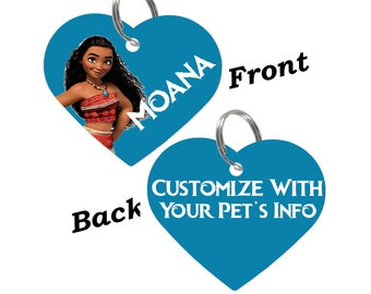 Disney Moana Double Sided Pet Id Tag for Dogs & Cats Personalized for Your Pet