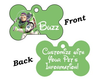 Disney Toy Story Buzz Lightyear Double Sided Pet Id Dog Tag Personalized for your Pet