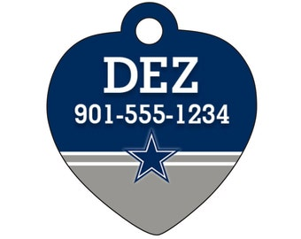 Dallas Cowboys Pet Id Tag for Dogs and Cats Personalized w/ Your Pet's Name & Number