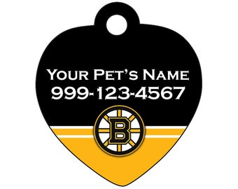 Boston Bruins Pet Id Tag for Dogs & Cats | Personalized for Your Pet | Fits all Dogs and Cats!