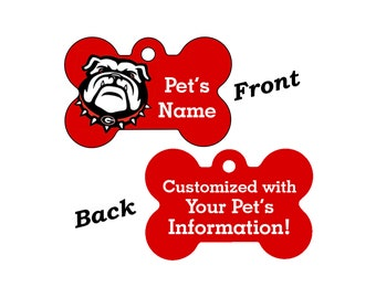 Georgia Bulldogs Double Sided Pet Id Tag for Dogs and Cats Personalized w/ 4 Lines of Text