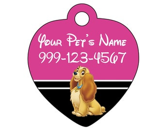 Disney Lady and The Tramp Pet Id Tag for Dogs and Cats Personalized w/ Name & Number