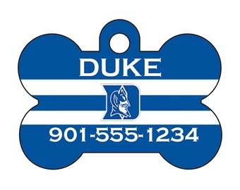 Duke Blue Devils Custom Pet Id Dog Tag Personalized w/ Your Pet's Name and Number