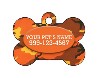 Fashionable Cute Orange Camo Pet Id Dog Tag Personalized for Your Pet