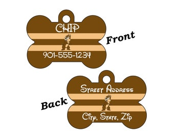 Disney Chip Custom Double Sided Pet Id Dog Tag Personalized for your Pet