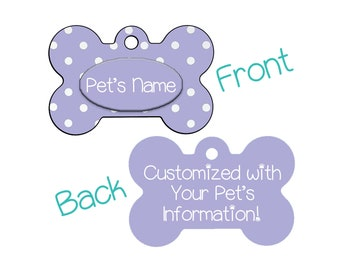 Stylish Cute Lavender Polka Dots Double Sided Pet Id Dog Tag Personalized w/ 4 Lines of Text