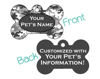 Camo Double Sided Pet Id Dog Tag | Gray Camo | Personalized for your Pet!