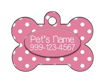 Stylish Cute Polka Dots Pink Pet Id Dog Tag Personalized for Your Pet