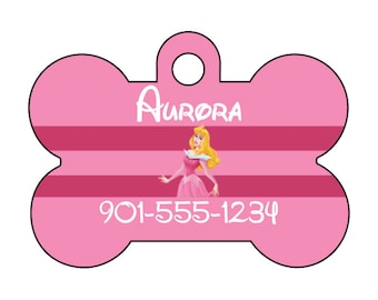 Disney Princess Aurora Sleeping Beauty Pet Id Dog Tag Personalized w/ Name & Number