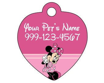 Disney Minnie Mouse Pet Id Tag for Dogs and Cats Personalized w/ Your Pet's Name & Number