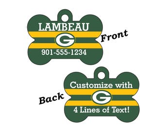Green Bay Packers Double Sided Pet Id Tag for Dogs and Cats Personalized w/ 4 Lines of Text