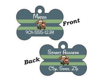 Disney Cars Tow Mater Custom Double Sided Pet Id Dog Tag Personalized for your Pet