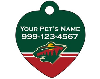Minnesota Wild Pet Id Tag for Dogs & Cats | Personalized for Your Pet | Fits all Dogs and Cats!