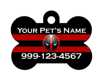 Deadpool Pet ID Dog Tag Personalized w/ Your Pet's Name & Number