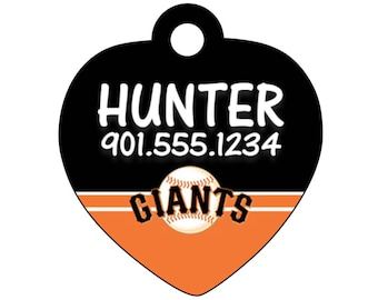 San Francisco Giants Pet Id Tag for Dogs & Cats Personalized w/ Name, Number