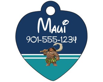 Disney Moana Maui Pet Id Tag for Dogs and Cats Personalized w/ Your Pet's Name & Number