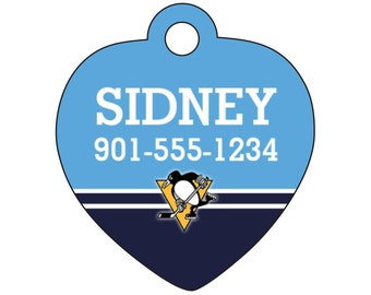 Pittsburgh Penguins Pet Id Tag for Dogs & Cats Personalized w/ Your Pet's Name and Number