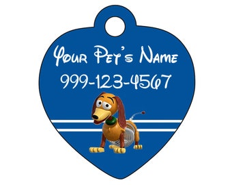 Disney Toy Story Slinky Pet Id Tag for Dogs & Cats Personalized w/ Your Pet's Name and Number