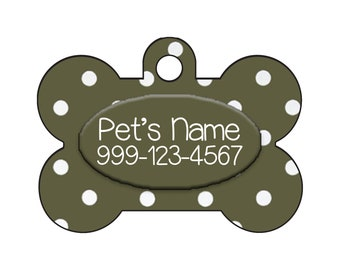 Stylish Cute Polka Dots Olive Green Pet Id Dog Tag Personalized for Your Pet