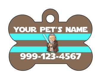 Disney Star Wars Obi Wan Kenobi Pet Id Dog Tag Personalized w/ Your Pet's Name and Number