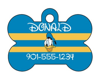 Disney Donald Duck Dog Tag Pet Id Tag Personalized w/ Your Pet's Name & Number