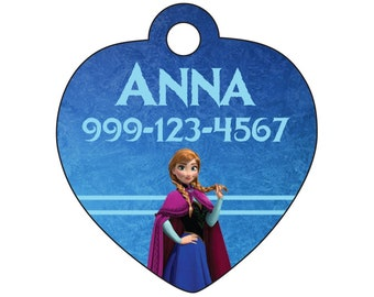 Disney Princess Anna Frozen Custom Pet Id Tag for Dogs and Cats Personalized w/ Name & Number