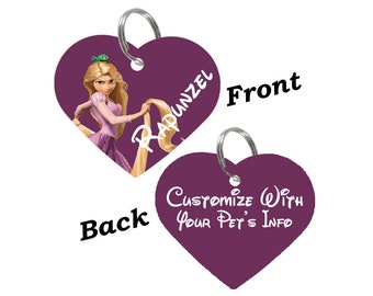Disney Tangled Rapunzel Double Sided Pet Id Tag for Dogs & Cats Personalized for Your Pet