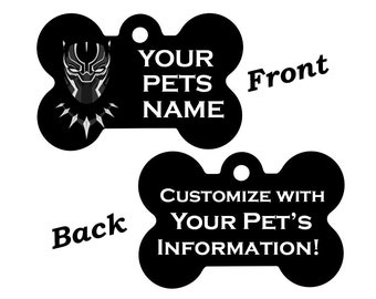 Disney Black Panther T'Challa Double Sided Pet Id Dog Tag Personalized for your Pet