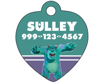 Disney Monsters Inc Sulley Pet Id Tag for Dogs & Cats Personalized w/ Your Pet's Name and Number