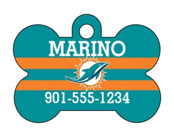 Miami Dolphins Pet Id Dog Tag Personalized w/ Your Pet's Name and Number