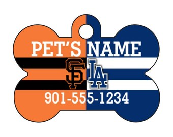 Giants & Dodgers House Divided Pet Id Dog Tag Personalized w/ Your Pet's Name and Number