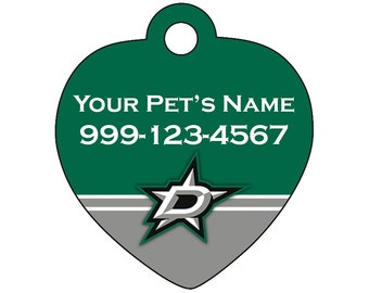 Dallas Stars Pet Id Tag for Dogs & Cats | Personalized for Your Pet | Fits all Dogs and Cats!