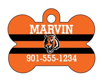 Cincinnati Bengals Pet Id Dog Tag Personalized w/ Your Pet's Name and Number