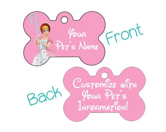 Disney Bo Peep Pet Id Dog Tag Personalized w/ Your Pet's Name & Number